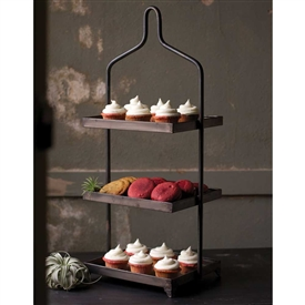 Pictured here is the Square Metal Three Tiered Display Stand at Timeless Wrought Iron.