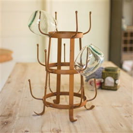 Pictured here is the rusted iron mug rack that holds up to 15 mugs on your counter top.