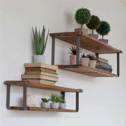 Pictured here is the Set of Two Recycled Wood and Metal Shelves at Timeless Wrought Iron.