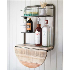 Pictured here is the Drop Leaf Metal and Recycled Wood Bar Shelf at Timeless Wrought Iron.