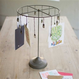 Pictured here is the Table Top Hanging Card Holder at Timeless Wrought Iron.
