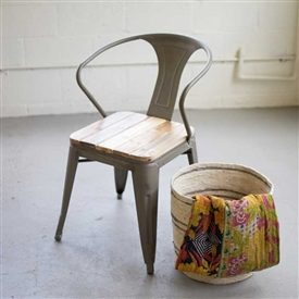 Pictured here is the Metal Arm Chair with Recycled Wood Seat at Timeless Wrought Iron.