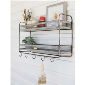 Pictured here is the Tiered Shelf with 5 Hooks at Timeless Wrought Iron.