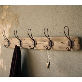 Pictured here is a rustic Recycled Wooden Coat Rack with Rustic Hooks at Timeless Wrought Iron.