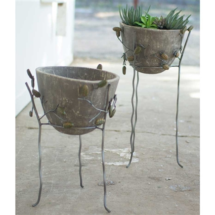 Pictured here is the Grey Washed Clay Bowls with Iron and Leaf Stands at Timeless Wrought Iron.