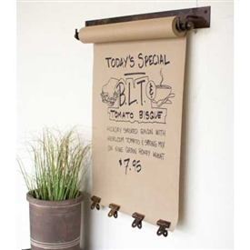 "Pictured here is the Hanging Note Roll with 4 Antique Brass Clips - 22"" at Timeless Wrought Iron."