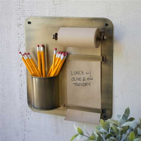 Pictured here is the Antique Brass Hanging Note Roll with Pencil Cup at Timeless Wrought Iron.
