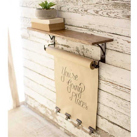Pictured here is the Note Roll With Mango Wood Shelf at Timeless Wrought iron