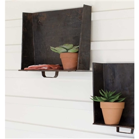 Pictured here is the Rustic Tray Wall Shelves Set at Timeless Wrought Iron.