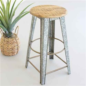 Pictured here is the Galvanized Stool with Wooden Top at Timeless Wrought Iron.