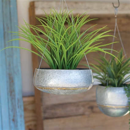 Pictured here is the Large Hanging Zinc Planter with Brass Weld at Timeless Wrought Iron.