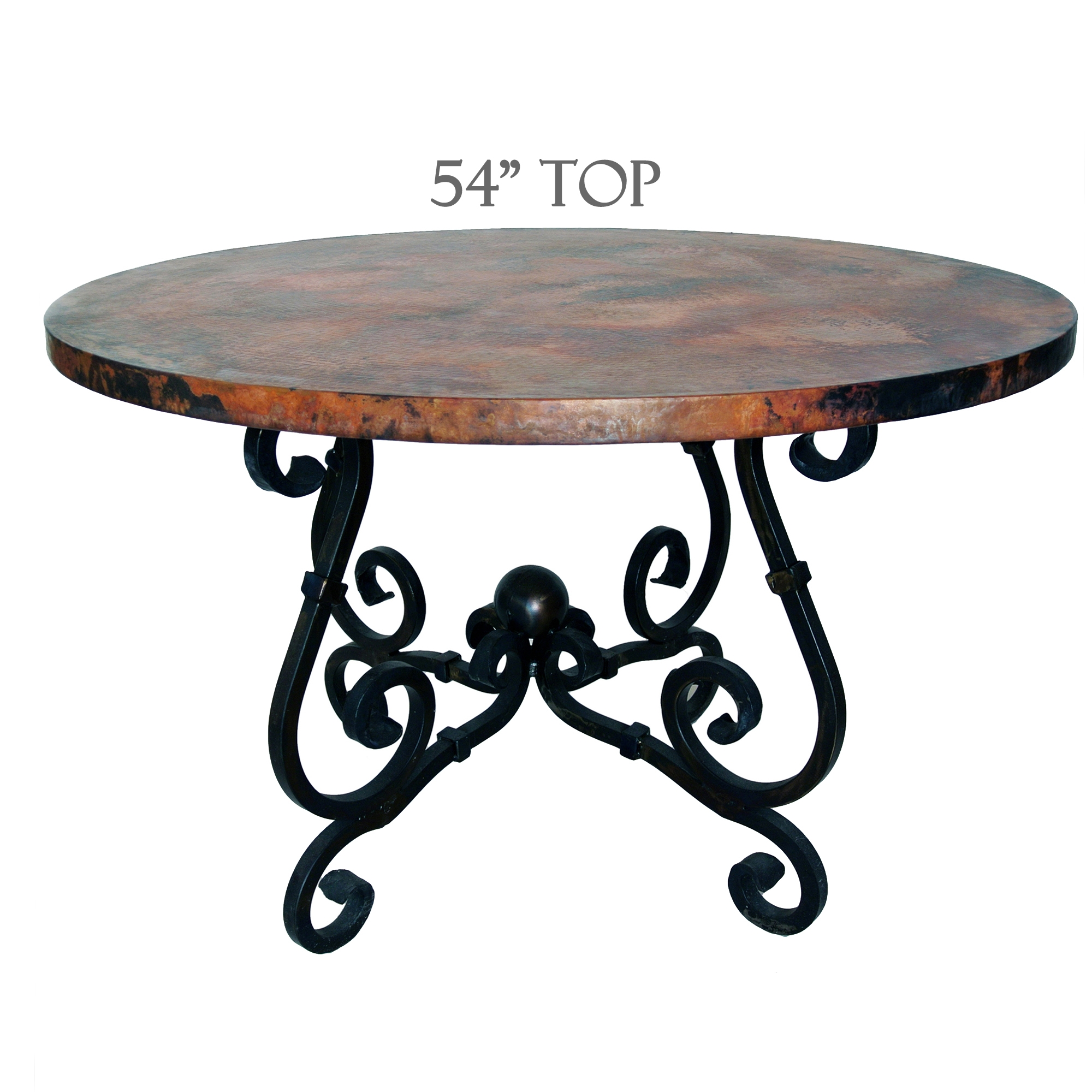 French Dining Table | 54in Diameter Copper Top | Timeless Wrought Iron