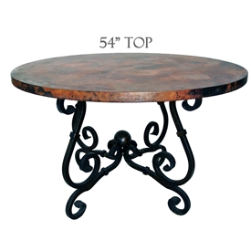 French Dining Table with 54 inch Diameter Copper Top