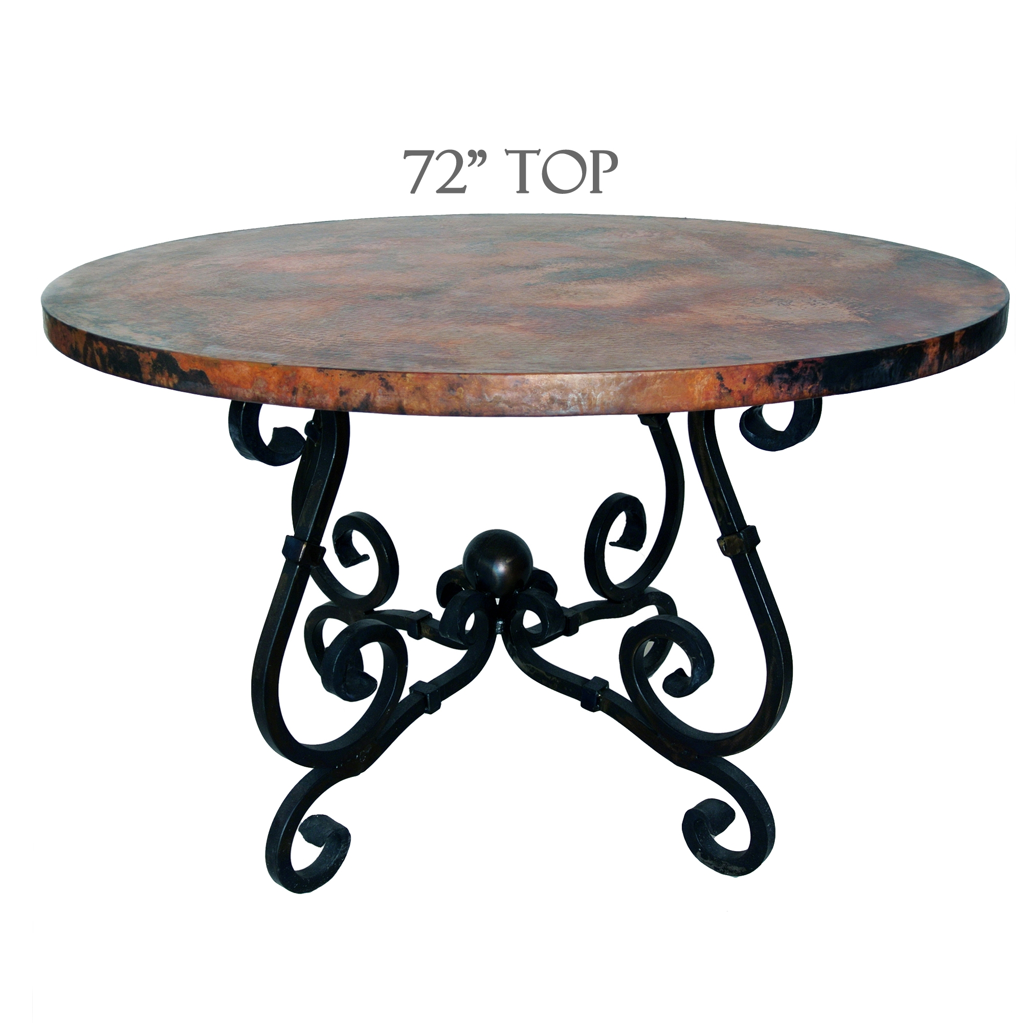 1960 s dining table wrought iron base and glass top tables - French Dining Table 72in Diameter Copper Top Timeless Wrought