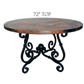 French Dining Table with french styled wrought iron table base and 72 inch diameter Copper table Top