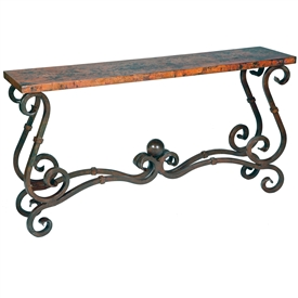 French Console Table with Copper Top