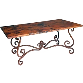 French Dining Table with Rectangle Copper Top