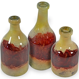 Pictured here is the Desert Sun Glass Bottles Set of 3 from Couleur