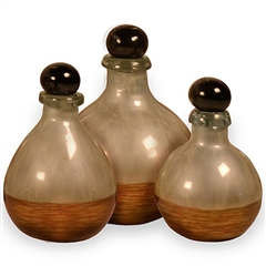Pictured here is the Golden Pearl Glass Bottles Set of 3 from Couleur