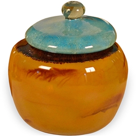 Pictured here is the Tropical Glass Jar with Lid from Couleur