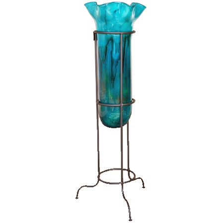 Pictured here is the hand blown Turquoise Small Floor Vase with Stand manufactured by Mathews and Company.