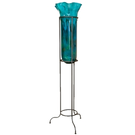 Pictured here is the hand blown Turquoise Large Floor Vase with Stand manufactured by Mathews and Company.