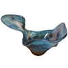 Pictured here is the hand blown Turquoise Wavy Bowl manufactured by Mathews and Company.