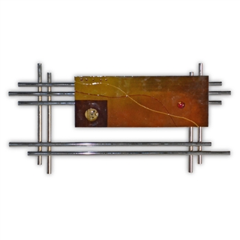 Pictured here is the Metro Chrome Wall Art with with hand painted Metal Panel from Couleur