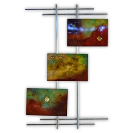 Pictured here is the Metro Chrome Wall Art with with 3 hand painted Metal Panels from Couleur