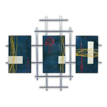 Pictured here is the modern style Metro Chrome Wall Art with 3 Blue Panels