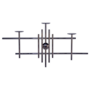 Pictured here is the Metro Wall Mounted Candle Holder with a chrome metal finish, this item will hold 3 pillar style candles.