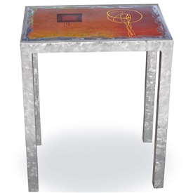 Pictured here is the Modernite End Table with Painted Metal Top hand crafted by skilled artisan blacksmiths.