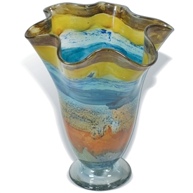 Pictured here is the Wild Flower Ruffle Glass Vase from Mathews and Company