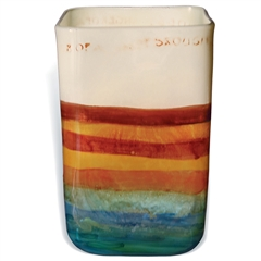 Pictured here is the Mango Tango Small Square Glass Vase from Mathews and Company