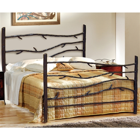 Pictured here is the Woodland Wrought Iron Bed hand forged by artisan blacksmiths.