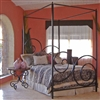 Pictured here is the Alexander Wrought Iron Canopy Bed hand forged by artisan blacksmiths.