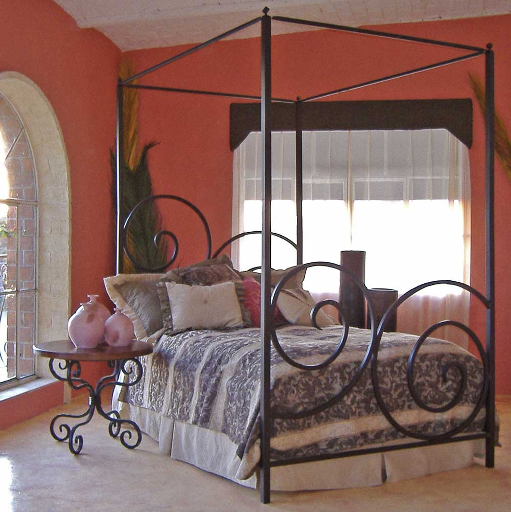 pictured here is the alexander wrought iron canopy bed hand forged by artisan blacksmiths