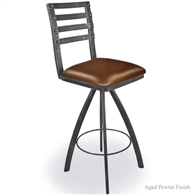 "Pictured is our Chanal 30"" Swivel Bar Stool no Arms, hand-forged by artisan blacksmiths."