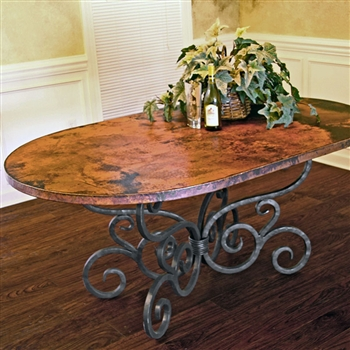 "Pictured here is the Alexander Dining Table with 44"" x 72"" Soft Oval Copper Top hand crafted by skilled artisan blacksmiths."