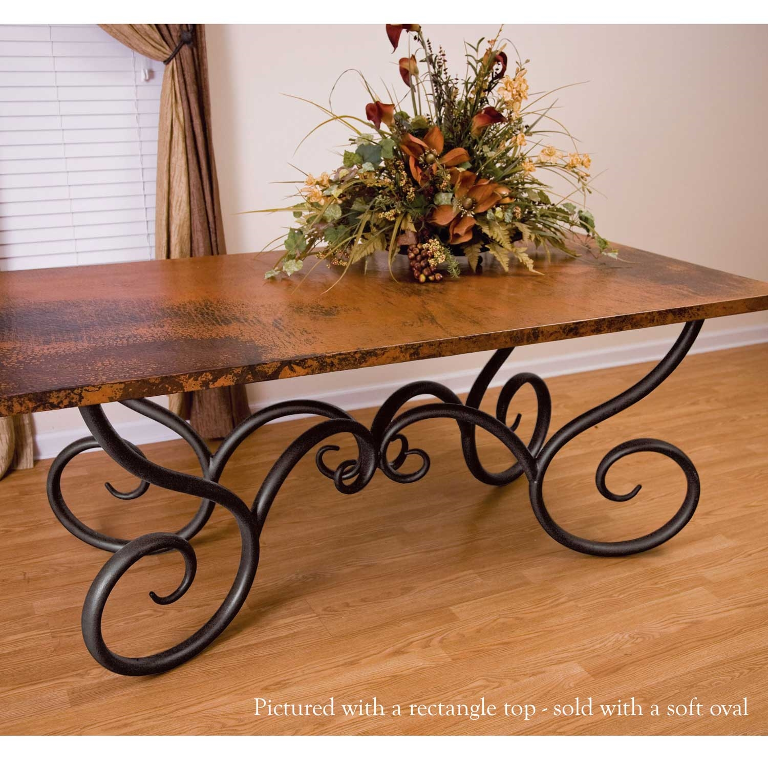 Milan Wrought Iron Dining Table with Soft Oval Copper Top