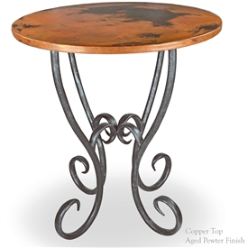 "Pictured here is the Milan 36"" Counter Table with 34"" Round Top hand crafted by skilled artisan blacksmiths."