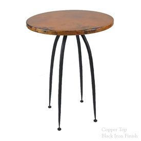 "Pictured here is the Pinnacle 40"" high Bar Table with 30"" round table top hand crafted by skilled artisan blacksmiths."