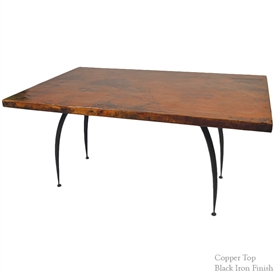 "Pictured here is the Pinnacle Dining Table with 44"" x 72"" Soft Oval Copper Top hand crafted by skilled artisan blacksmiths."