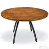 Pictured here is the Chanal Dining Table with 48inch diameter table tops hand crafted by skilled artisan blacksmiths.