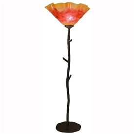 Pictured is our Rustic style wrought iron South Fork Torchiere Floor Lamp with Glass Shade  hand-made by Mathews & Co.