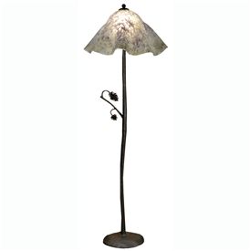 Pictured is our Rustic style wrought iron Piney Woods Floor Lamp with Glass Shade hand-made by Mathews & Co.