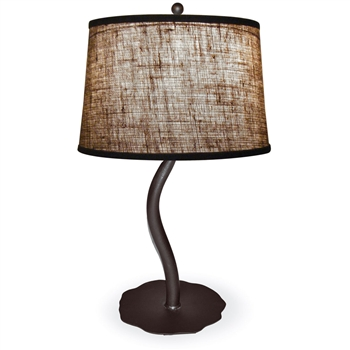 Pictured is our Contemporary style wrought iron Diamondback Table Lamp hand-made by Mathews & Co.