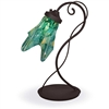 Pictured is our Contemporary style wrought iron Wild Vine Table Lamp with Glass Shade hand-made by Mathews & Co.