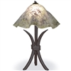 Pictured is our Contemporary style Salisbury Table Lamp with Large Glass Shade hand-made by Mathews & Co.