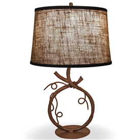 Pictured is our Rustic style wrought iron San Saba Table Lamp hand-made by Mathews & Co.